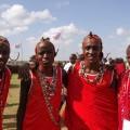 第2回マサイ・オリンピックに出場したマサイの戦士たち。右端は本文で後述する戦士たちのリーダーである。