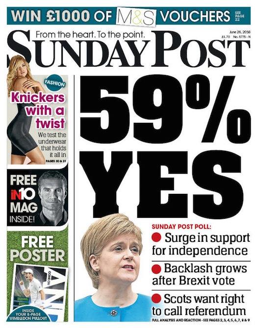 独立支持の増加を報じる6月26日付のSunday Post