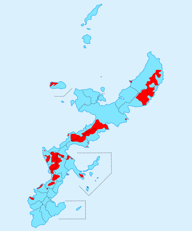 図1 沖縄県内の在日米軍基地 出典 https://upload.wikimedia.org/wikipedia/commons/0/08/US_military_bases_in_Okinawa.svg (2016年10月30日閲覧)