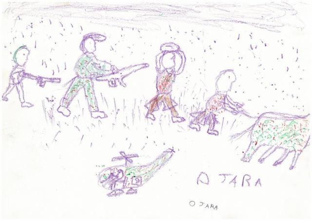 ウガンダのリハビリ施設で子どもたちが描いた絵。紛争時の経験を描いている。2005年撮影。(写真提供 アフリカ平和再建委員会)