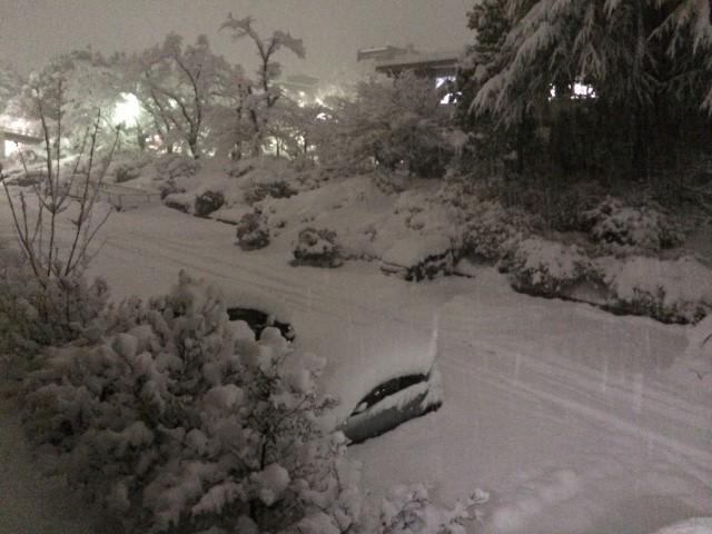 写真2 山梨大学工学部駐車場(撮影:2014年2月14日18時)