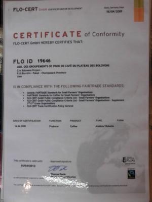 写真2:FLO IDの記載された認定証(筆者撮影)