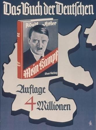 ヒトラー『わが闘争』(1934年版)と400万部突破の広告ポスター。「THE・ドイツ人の本」と書かれている。