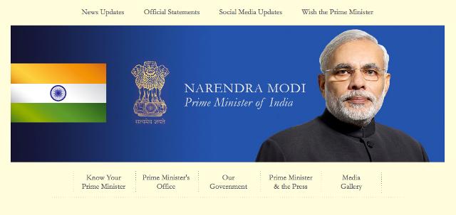 新たにインド首相に就任したナレンドラ・モディ氏(インド首相公式ウェブサイトより)
