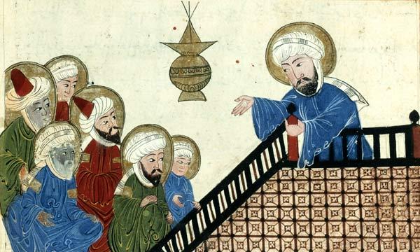 右手、説教壇の上にいるのがムハンマド。ペルシャの学者アル・ビールーニーが書いた天文学書の挿画。