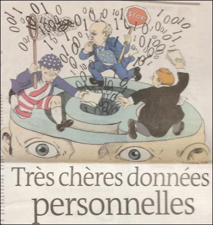 図4 個人情報の利活用に積極的なアメリカと個人情報保護に厳格なEUの対比(「Le Monde, 4 juin 2013 p.19」より)