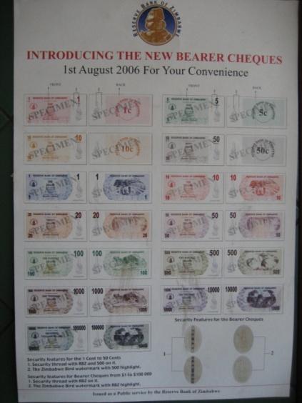 2006年8月のデノミネーションを告示するポスター。当時もかなりの高インフレで、旧通貨単位が1,000分の1に切り下げられたが、まだハイパー・インフレとはいえない段階だった。デノミネーションはその後、2008年8月と2009年2月にもおこなわれ、旧通貨単位がそれぞれ100億分の1、1兆分の1に切り下げられた。