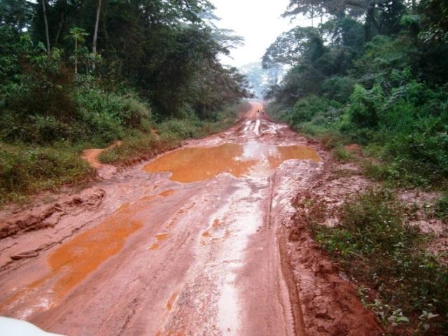 東部州の道路。未舗装の道路は、雨季になると粘土のようになり、車両の通行を阻む。
