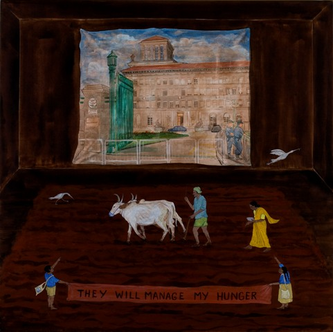 N・S・ハルシャ 《彼らが私の空腹をどうにかしてくれるだろう》(「チャーミングな国家」シリーズより) 2006年 アクリル、キャンバス 97 x 97 cm 所蔵:ボーディ・アート・リミテッド、ニューデリー