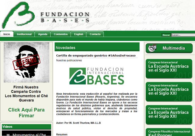 アルゼンチンの保守系NGO、BASESのウェブサイト。トップページには、署名運動のコンテンツがあり、ゲバラの顔に「殺人者」という赤字が重ねられている。