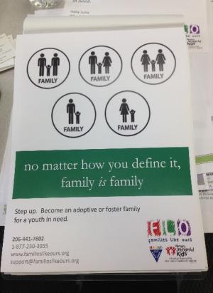 里親・養親支援団体が作成しているポスター。 「あなたがどう定義しようとも『家族は家族』」