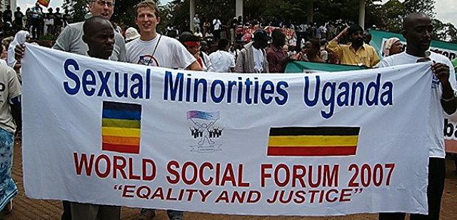 ウガンダの性的少数者の団体「ウガンダの性的少数者たち」(Sexual Minorities Uganda):2007年の世界社会フォーラム(ケニア・ナイロビにて開催)にて。
