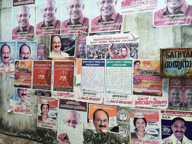 各党候補者の選挙ポスター(ケーララ州にて、著者撮影)