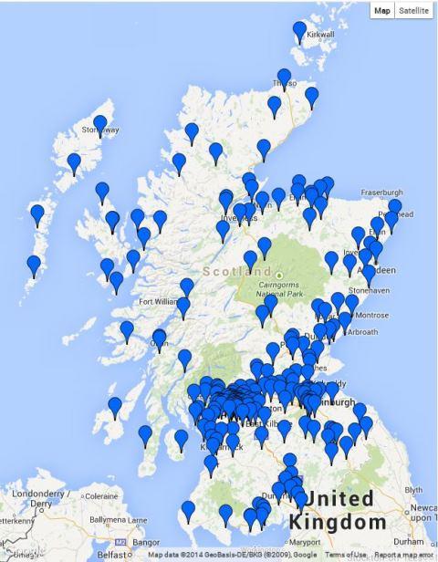 図:スコットランド全土に広がるYes Scotlandのグループ。Yes Scotlandのサイトから筆者が作成。