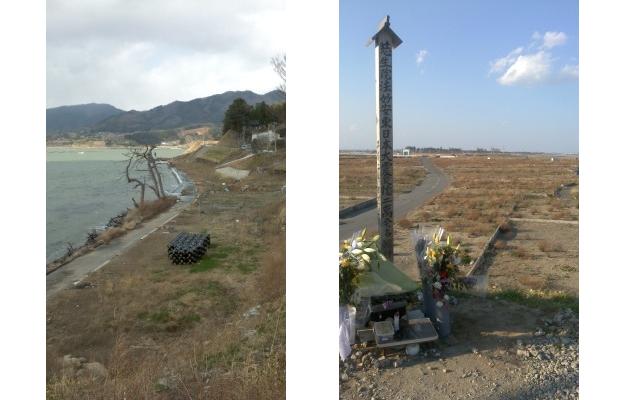 2013年時点での被災地 左:岩手県陸前高田市広田半島 中央の枯れ木がすっかりかぶるくらい波が来たことがわかる。 右:宮城県名取市閖上(ゆりあげ) 枯草に覆われているところは、津波にさらわれた住宅地。
