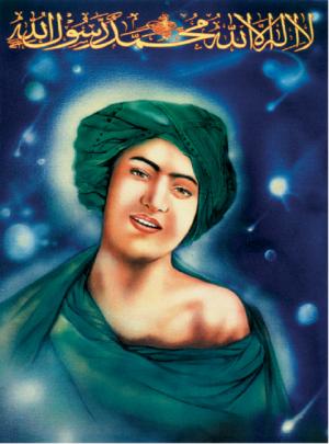 イランで80年頃から作成されるようになった、若きムハンマドの肖像ポスター。