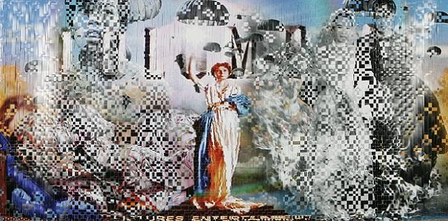 ディン・Q・レ《無題(ミラノ002)》(「ベトナムからハリウッドまで」シリーズより)2004年 カラー写真、リネンテープ 97×183cm