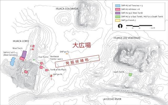 過去の発掘区と発掘予定区域