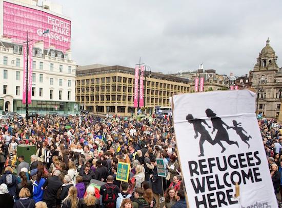 2015年9月にグラスゴーで行われた難民を歓迎する集会
