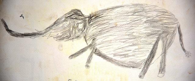 バカ・ピグミーの青年によるマルミミゾウのスケッチ。