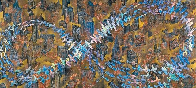 紐育空爆之図(にゅうようくくうばくのず)(戦争画RETURNS) 1996 襖、蝶番、日本経済新聞、ホログラムペーパーにプリント・アウトしたCGを白黒コピー、チャコールペン、水彩絵具、アクリル絵具、油性マーカー、事務用修正ホワイト、鉛筆、その他(六曲一隻屏風) 174x382cm 零戦CG制作:松橋睦生 撮影:長塚秀人 (c) AIDA Makoto Courtesy Mizuma Art Gallery
