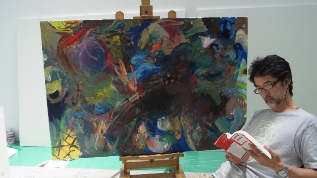 美術と哲学3 ハイデガー 存在と時間 2012 油彩画、本、定点観測カメラの記録映像によるインスタレーション (c) AIDA Makoto Courtesy Mizuma Art Gallery