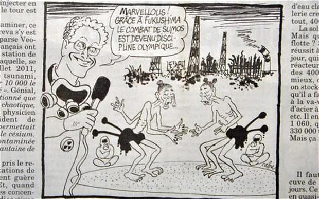 東京でのオリンピック開催が決定された際にフランスのアンシェネ誌に掲載された、奇形を揶揄した「風刺画」。内容を踏まえれば、差別的に侮辱している対象が福島だけではなく、「東京」とそのオリンピックも含まれていることに気付かされます